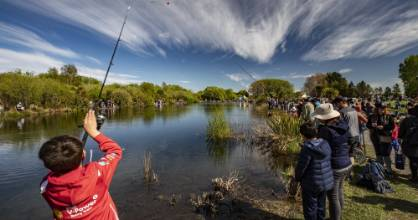 Bailey Reeve, 10, casts at the annual Take A Kid Fishing event at the Groynes in Christchurch.