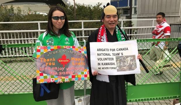 Fans travel to World Cup quarterfinal to thank Canada for Typhoon Hagibis clean-up