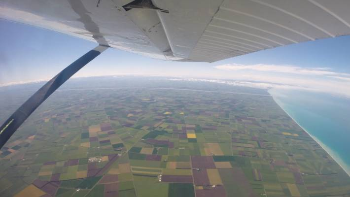 The view from the plane before the sponsored skydivers jumped in the Drop for Youth Kiwi Can skydiving fundraiser at Ashburton Airport.