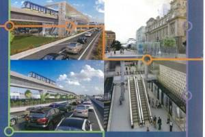 Renders of what the Super Fund's vision of light rail in Auckland will look like, including raised tracks and a tunnel ...