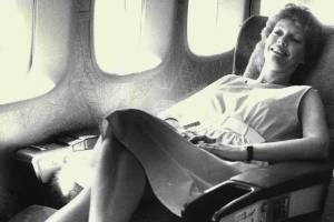 Lounging in a 1st class seat on Air New Zealand Jumbo in 1984.