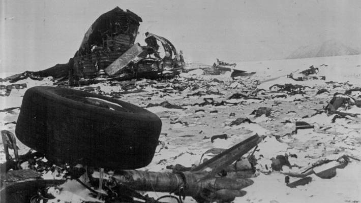 The twisted wreckage from the crashed Air New Zealand DC10 plane litters the slopes of Mount Erebus.