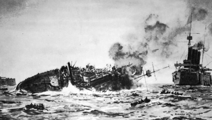 Loss of HMS Aboukir by painter Norman Wilinson.