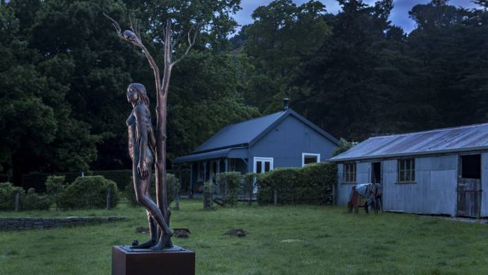 Sculpture on the Peninsula, the South Island's largest open air exhibition, features work by 71 contemporary artists including  Alison Erickson's Portent.