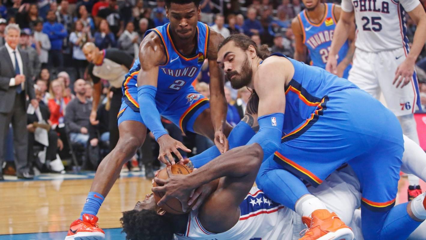 NBA: Steven Adams' Thunder sink stacked 76ers in overtime