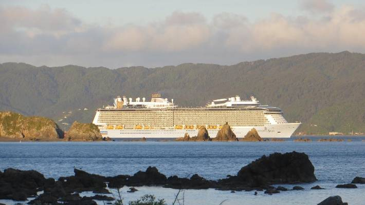 The Ovation of the Seas, which stopped in Wellington Harbour on Monday night.