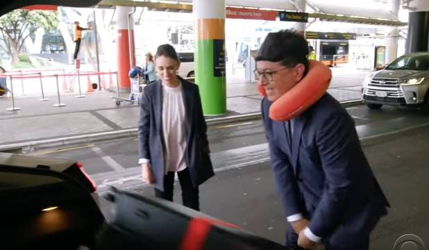 The Late Show host Stephen Colbert wants to officiate at Jacinda Ardern's wedding