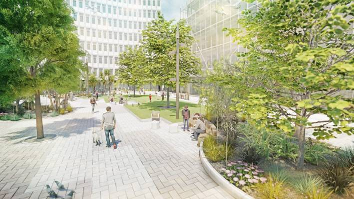 The southeast corner of Cathedral Square will be transformed into a grassed area in 2020.