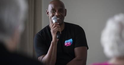 The Chase star Shaun Wallace visited the Archer Retirement Village and Rest Home in Christchurch on Wednesday.
