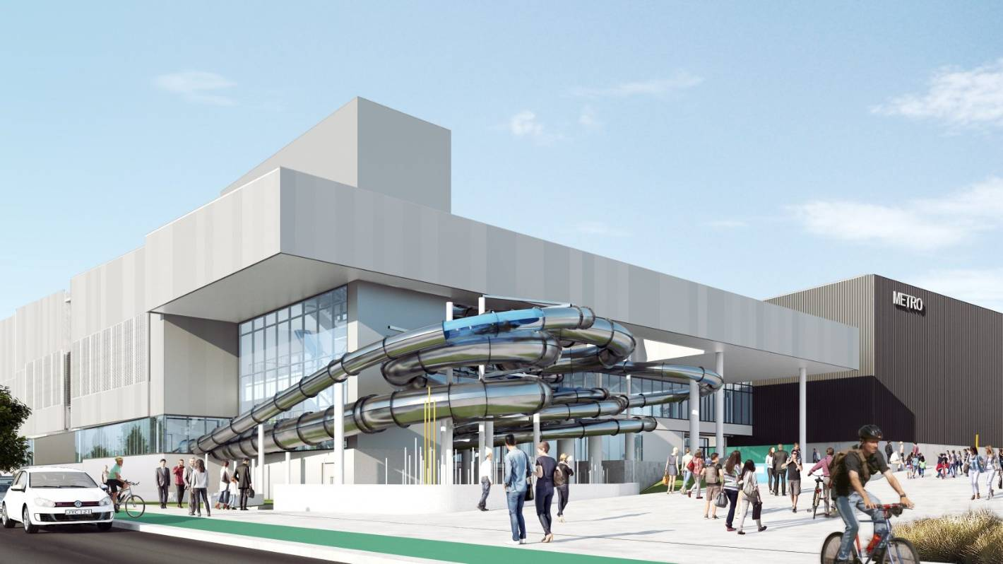 Updated artists impressions of the metro sports facility, a Christchurch anchor project.