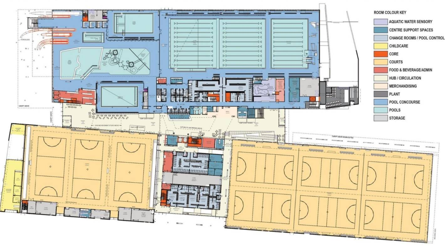 Floorplans of Christchurch's planned metro sports facility.