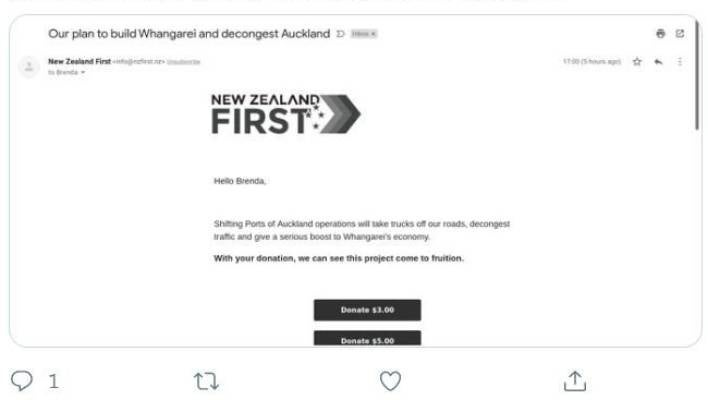 An email purportedly sent by the New Zealand First party, seeking donations by making a link to its port-move policy