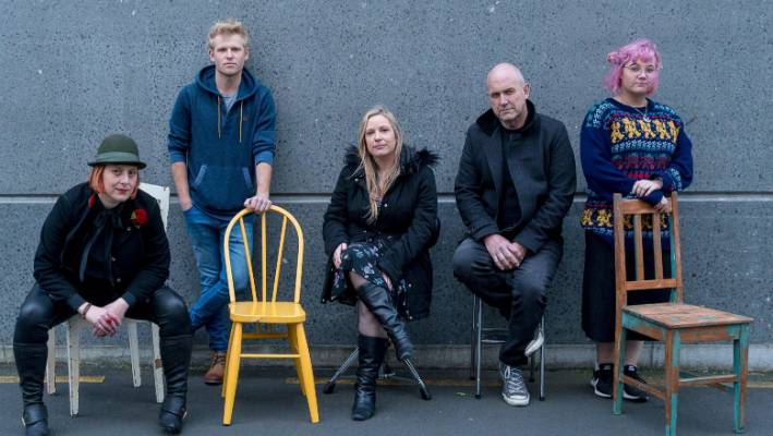 Chairs, everyone: Hamilton band DateMonthYear are, from left, Brooke Baker, Tyler Leet, Emma Koretz, Trevor Faville and Hayley Schwass.