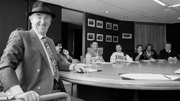 "Dave ""The Hat"" Morgan and Seamen's Union colleagues occupying the Shipping Corporation's boardroom in Wellington in 1988."