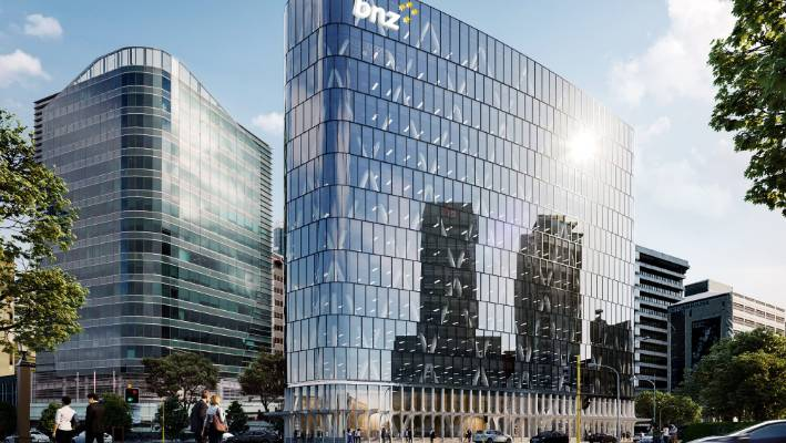 An illustration of a new 12-storey base isolated building at 1 Whitmore Street, Wellington, whose development will be managed by Newcrest and it will be leased by BNZ as their new headquarters in the capital.