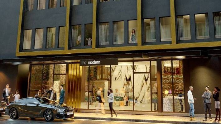 An artist's impression of new Hilton hotel The Modern which will open on Hereford St in central Christchurch.