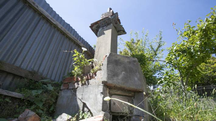 The chimney and copper for washing was part of an old laundry at the heritage-listed Emeny House in Mt Cook.