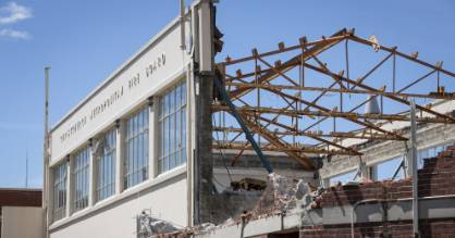 Demolition of the old Christchurch City Fire Station on Kilmore St started last week.