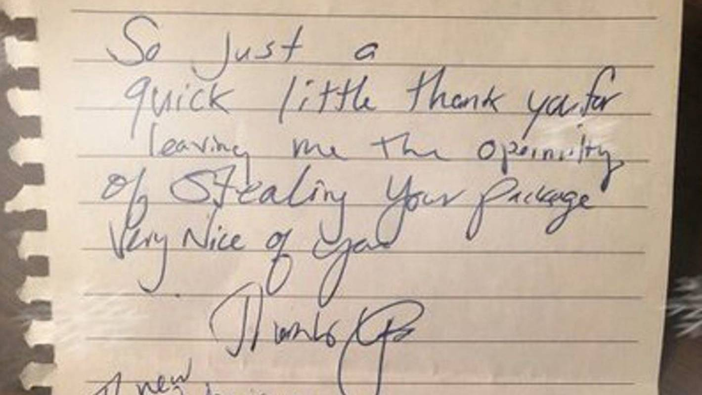 US package thief leaves thank you note at front door