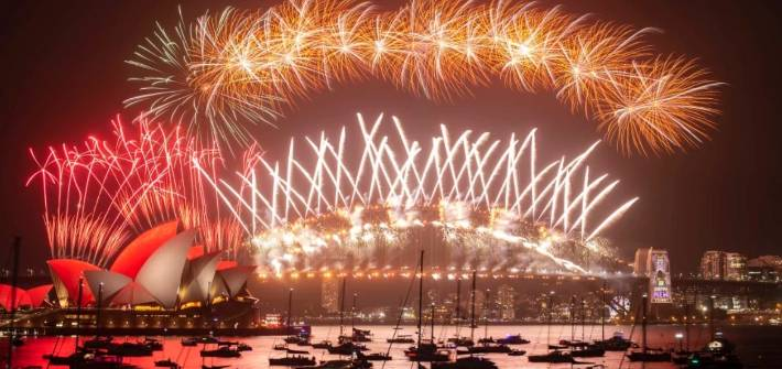 The fireworks at midnight in Sydney.