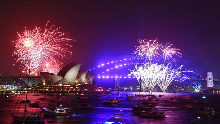 Fireworks are seen from Mrs. Macquarie's Chair during New Year's Eve celebrations in Sydney.