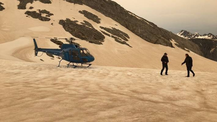 Another shot taken on January 1 of the beige-coloured snow near Franz Josef glacier.