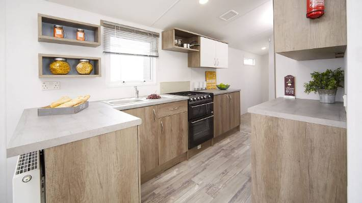 Each caravan costs $189,950 and comes with appliances and built in furniture.