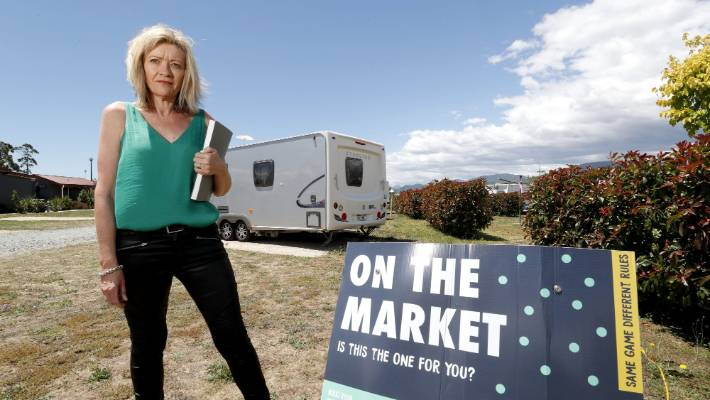 Nikki Ryan of You Realty promotes the sale of static caravans at the Queen Street Holiday Park in Richmond.
