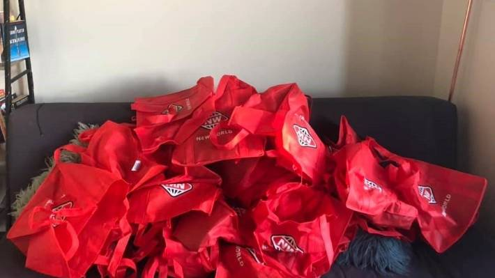 "Wellington man Aidan Doyle posted: ""I'm not proud of this... but does anyone want one of 40 reusable New World bags I've accumulated?"" He donated them to a food bank volunteer."