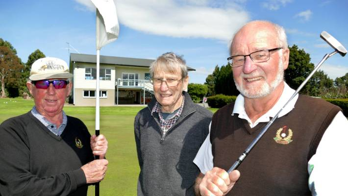 Left handed Winton Golf Club members Garnie Cowie, Burt Wilson and Graeme Carroll.