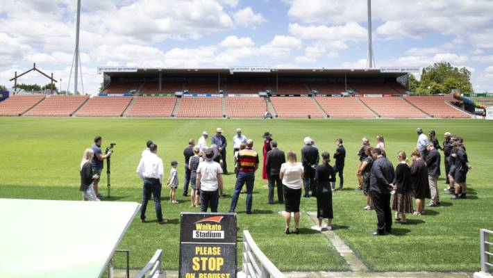 A blessing took place for the newly renovated turf at FMG Stadium Waikato on Wednesday.