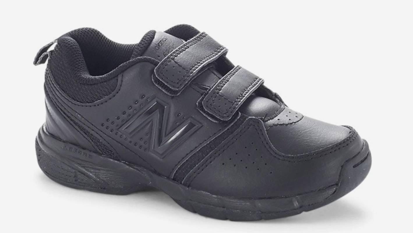 black leather school runners
