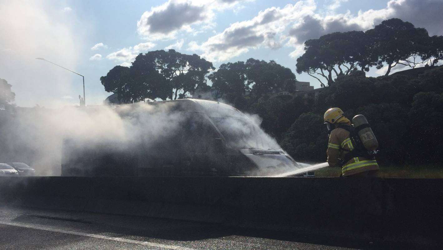 Delays on Auckland's northern motorway following car fire