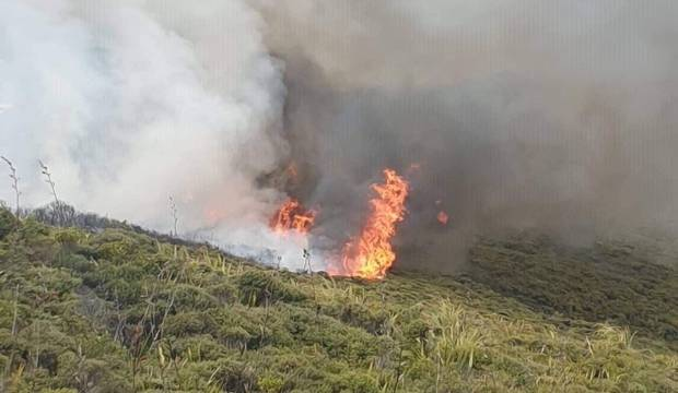 Large fire near Cape Reinga lighthouse continues to burn