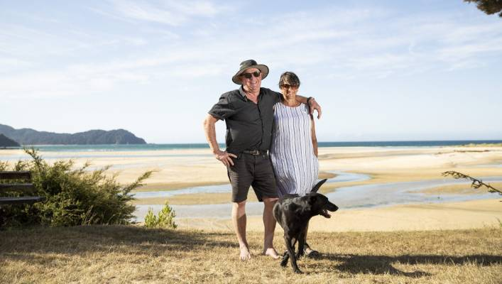 Geoff and Elva Philips are the sole year-round residents of the Awaroa Bay community.