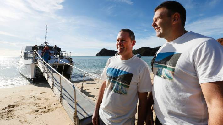 Adam Gard'ner and Duane Major dreamed up the crowd funding campaign to buy Awaroa Beach for New Zealanders.