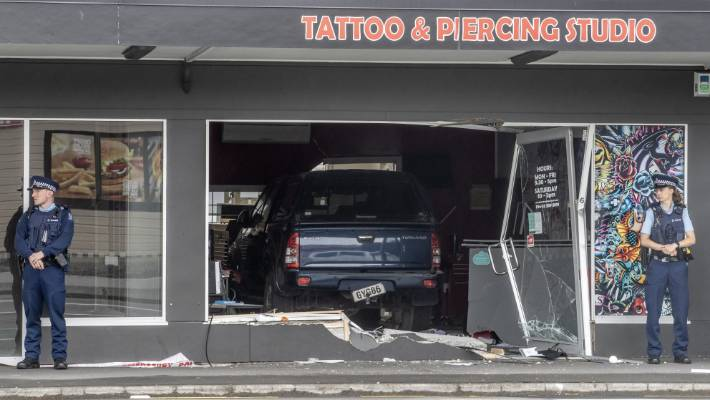 A stolen ute smashed into King of Ink in Linwood about 4.20am on Friday.