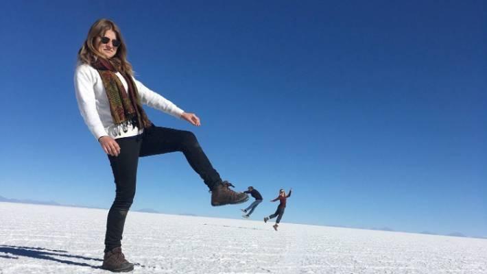 Sophie Trigger at the largest salt flats in the world, Salar de Uyuni, in southwest Bolivia.