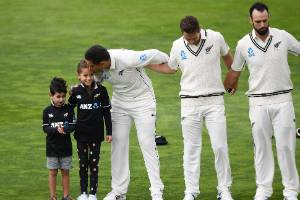 Ross Taylor with children Jonty and Mackenzie before his 100th test match.