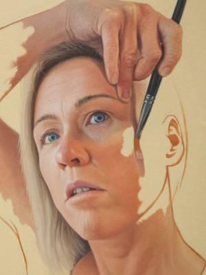 24022020 Photo: ROSS GIBLIN/STUFFSacha Lees, winner of the 2020 Adam Portraiture Award with her self portrait.