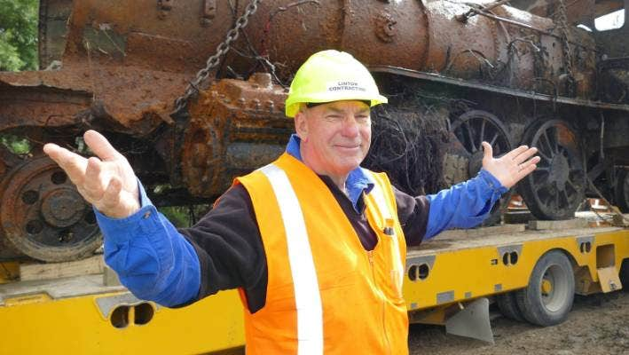 Lumsden Heritage Trust chairman John Titter after the first locomotive was retrieved in January.
