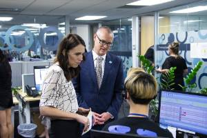 Jacinda Ardern, the NZ Prime Minister, and the Minster of Health David Clark visited the Health Line call centre in ...