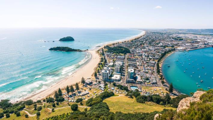 The view from the top of Mt Maunganui.