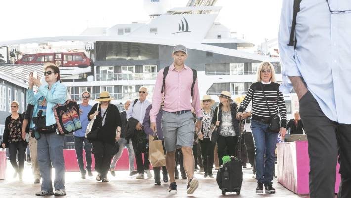Passengers on the cruise ship Le Laperouse docked in Wellington today, and passengers were told to leave and get themselves home.