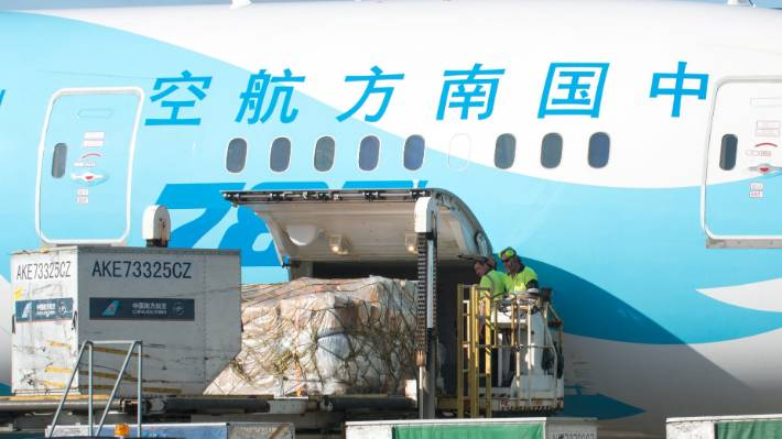 Passenger flights like this Southern China one, have a big role in carrying airfreight.