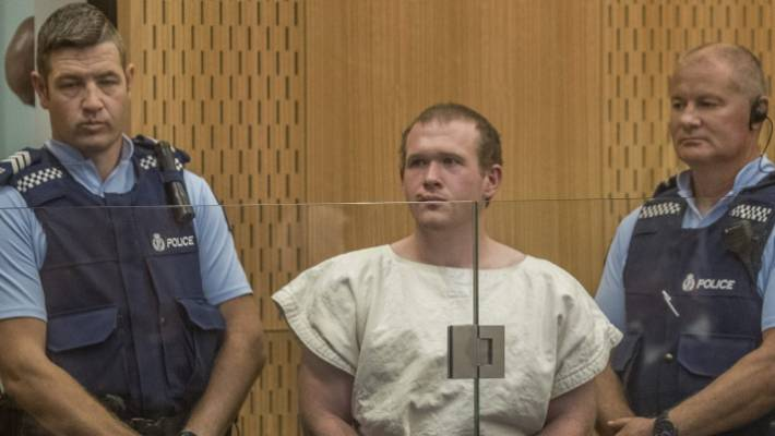 Terrorist Brenton Tarrant pictured at his first court appearance, the day after the mosque shootings.