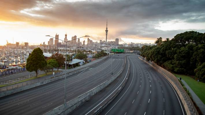 Auckland's normally packed northern motorway at St Mary's Bay was empty on the first day of the Coronavirus lockdown.