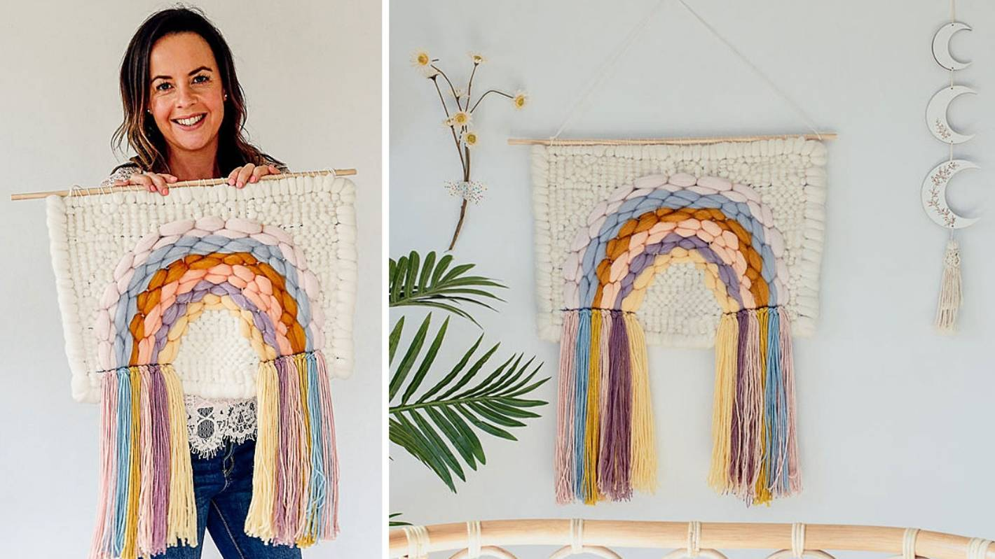 Clever Poppy: How to make a rainbow woven wall hanging