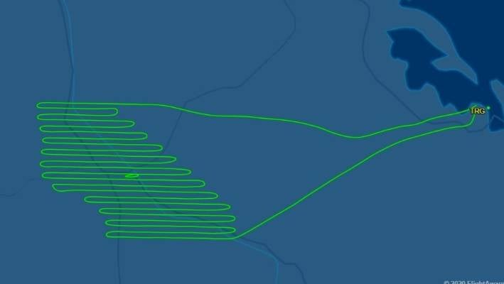 The flight path of aircraft VH-ZI0 over Waikato and Bay of Plenty on Monday as recorded by Flight Aware.