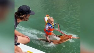 Six-month-old sets record for the youngest water skier in the world